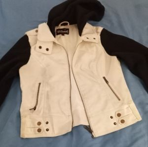 White and black Faux leather jacket